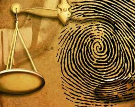 Fingerprint and scales of Justice