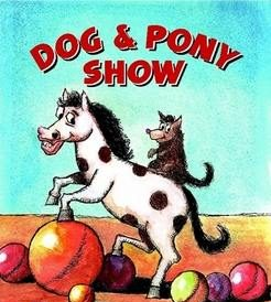 Circus act with dog, pony and balls